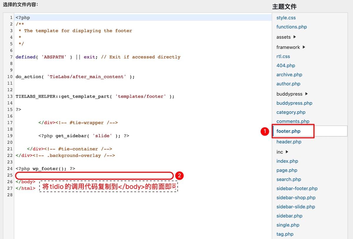 tidio网站调用代码填写方法